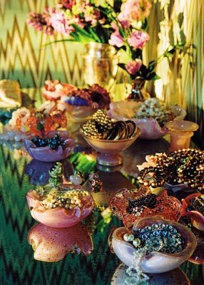 Interior designer Mary McDonald uses vintage Murano dishes for jewelry, a great addition to her dressing room.
