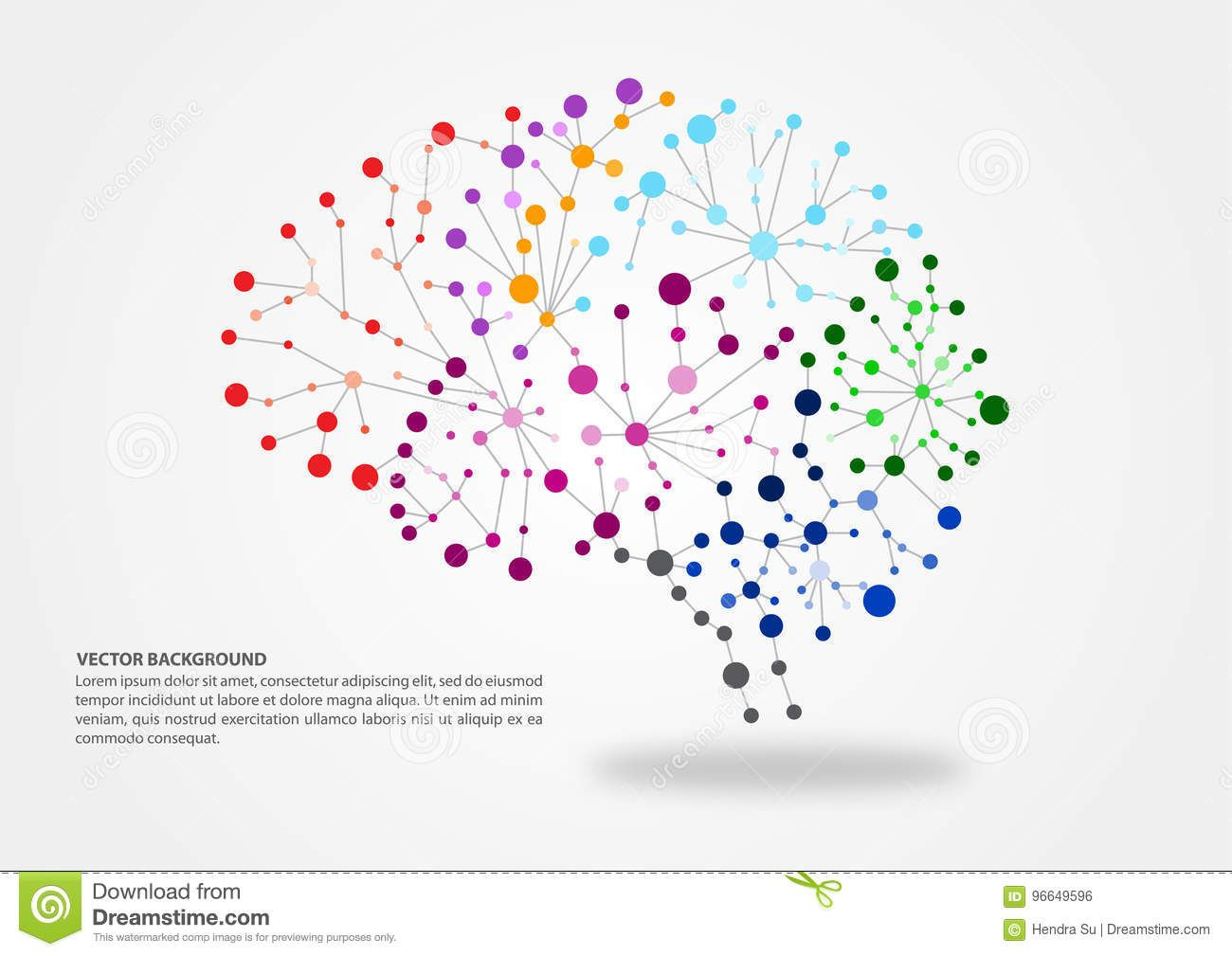 Colorful Brain Mapping Concept With Dots Circles And Lines With