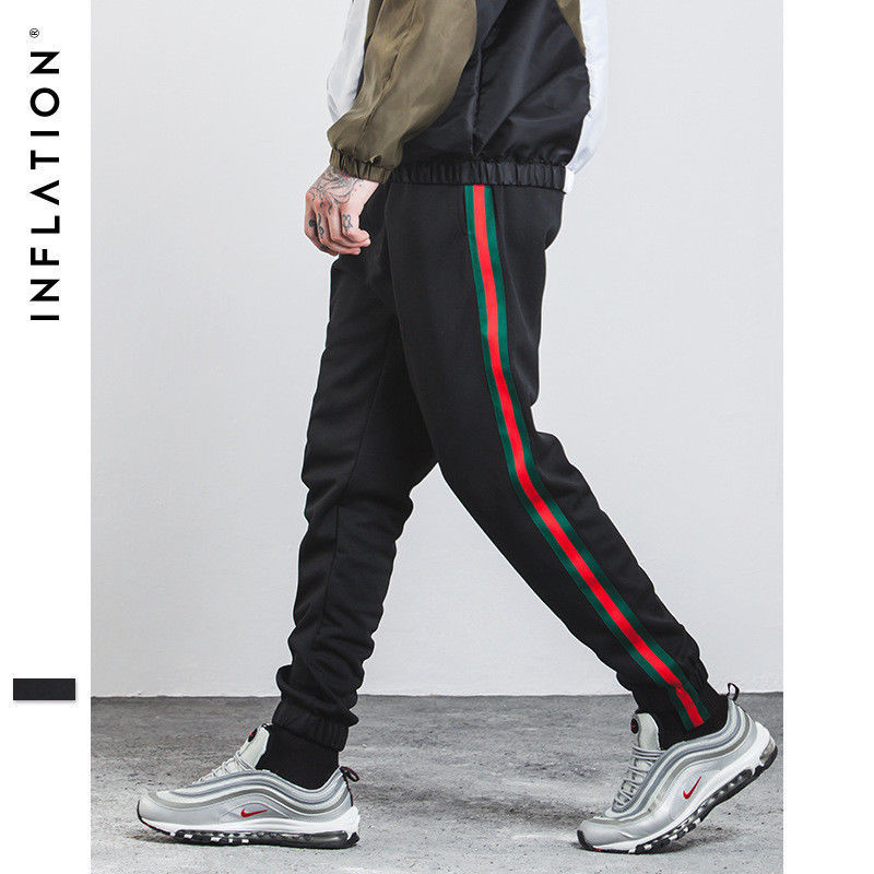 official site amazing selection sports shoes New Men's Side Stripes Ribbon Vintage Track Pants Elastic Joggers ...