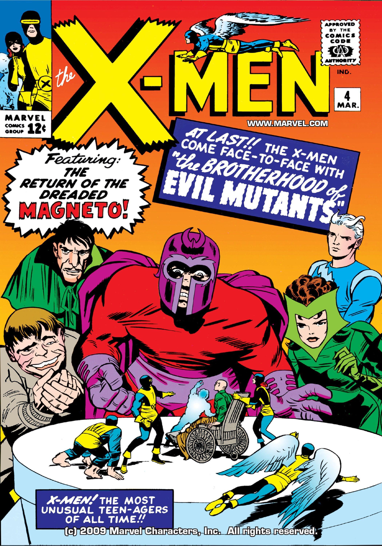 Uncanny X Men 004 1964 Digital First Appearance Of The Brotherhood Above All Member Are Shows Ben Johnson Capas De Quadrinhos Feiticeira Escarlate