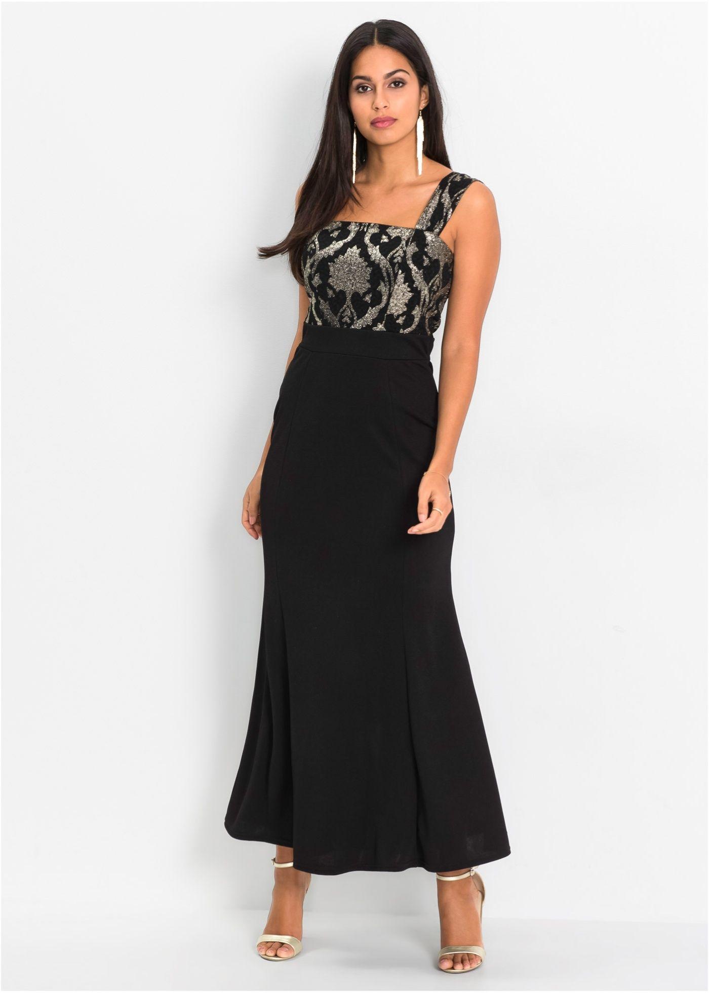 Kleid mit Brokatmuster schwarz jetzt im Online Shop von bonprix.de
