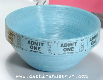 Cathie and Steve Make. Bake. Celebrate!: Make it: Ticket Bowl    They sell ticket strips in the party section at Dollar Tree.