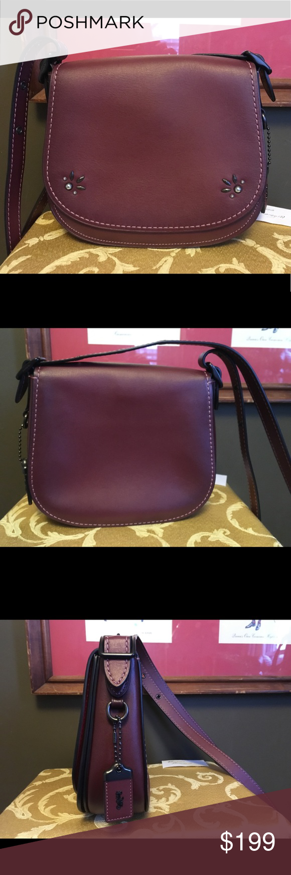 037421fbe Coach 1941 Saddle 23 in Bordeaux BORDEAUX/BLACK COPPER Glovetanned leather  Inside zip and open pockets Flap closure, leather lining Fo… | My Posh Picks