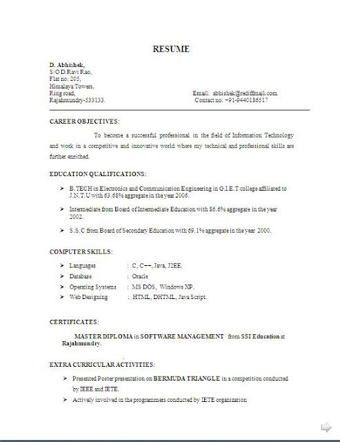 biodata and resume free download Sample Template Example of ...