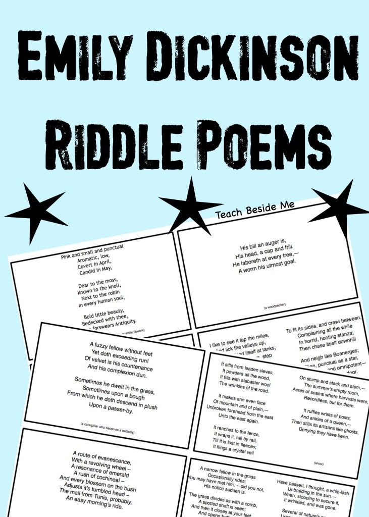 Emily Dickinson Riddle Poems | Emily dickinson, Poem and Homeschool