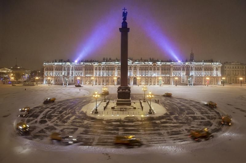 The Winter Palace, St Petersburg ~ and snow cars are making The Palace Square ~ Waltz of Russian Vehicles