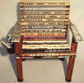 It might not be the most comfortable, but this wooden chair made out of hockey sticks is very creative!