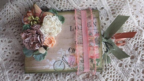 Vintage Bike And Floral Paper Bag Mini Album Junk Journal With
