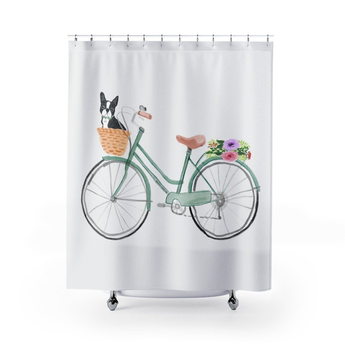 Watercolor Boston On Vintage Bike Shower Curtain Curtains