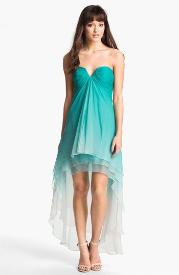 La Femme Ombré Strapless High/Low Chiffon Gown available at Nordstrom