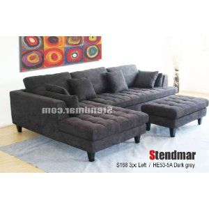 3pc Euro Design Dark Gray Microfiber Sectional Sofa Set S168l