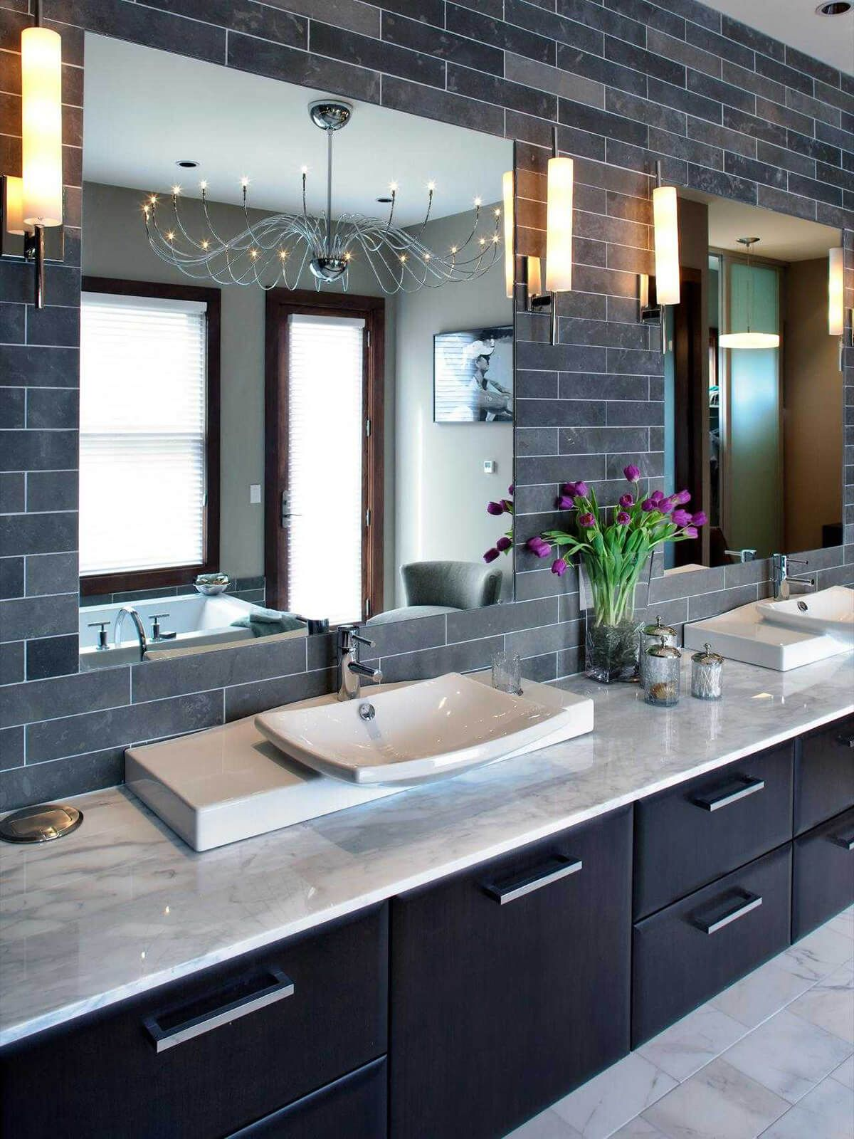 25 Inspiring Bathroom Sink Ideas To Add Style And Color To Your Bathroom Modern Master Bathroom Contemporary Bathrooms Bathroom Color Schemes