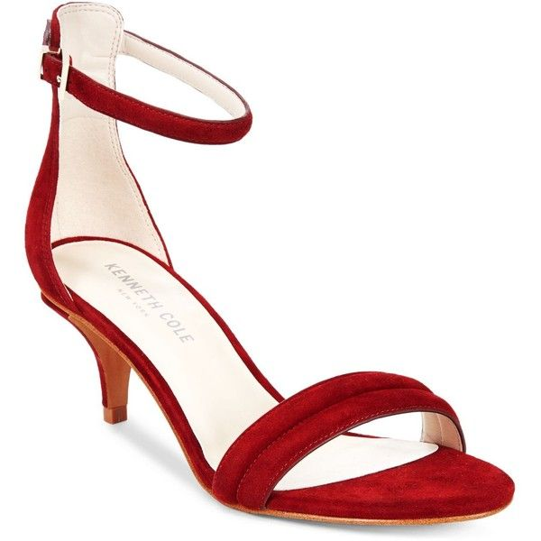 Kenneth Cole New York Women's Hannah Strappy Sandals ($84) ❤ liked on Polyvore featuring shoes, sandals, dark red, kenneth cole shoes, dress sandals, strappy kitten heel sandals, strap shoes and strappy shoes