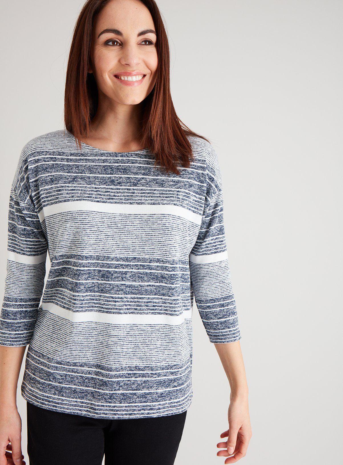 Navy Stripe Knit Look Top - 12