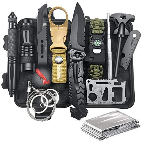 Gifts for Men Dad Husband Fathers Day from Daughter Wife Son, Survival Kit 12 in 1, Fishing Hunting Birthday Gift Ideas for Him Teenage Boy Cool Gadget, Emergency Camping Survival Gear and Equipment - Default