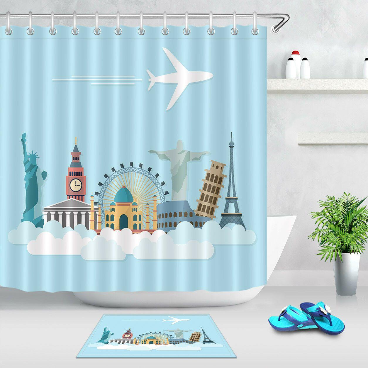 Cartoon City Airplane 7171 Waterproof Fabric Shower Curtain Set Bathroom Decor Bathroom Decor Ideas Of Bathr Bathroom Decor Bathroom Printed Shower Curtain