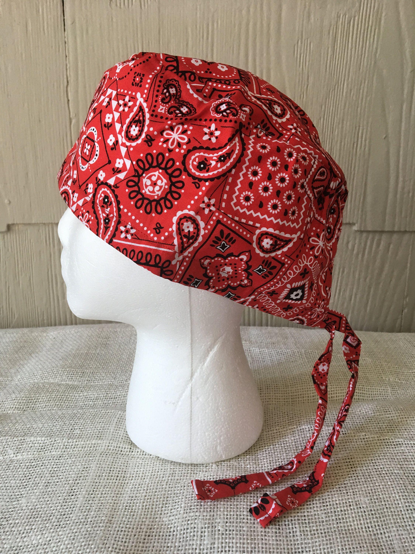 Red Bandana Pattern Scrub Cap Surgery Cap Scrub Caps Scrub Hat