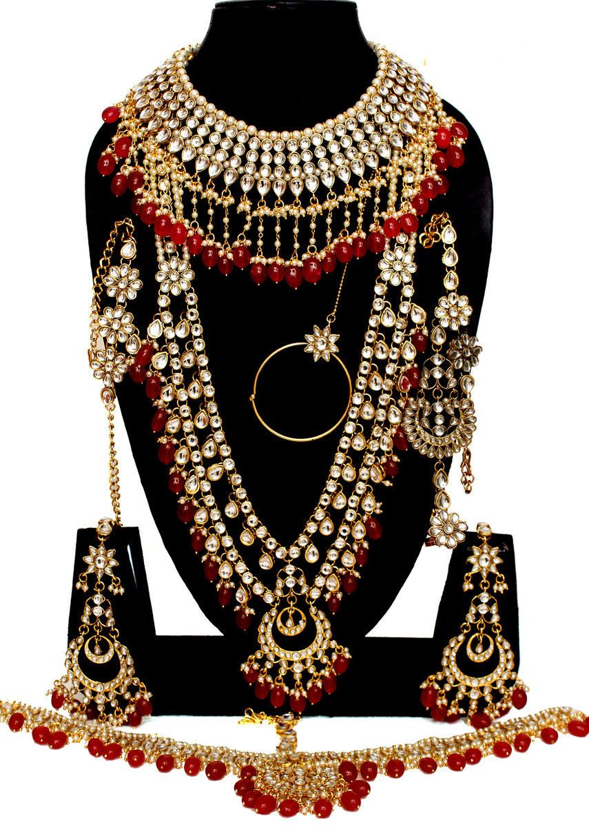 Bridal and wedding party jewelry red kundan gold tone indian