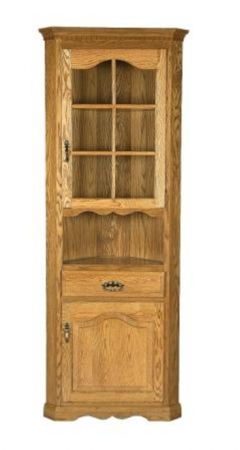 Amish one door corner hutch corner hutch doors and room for Dining room hutch plans