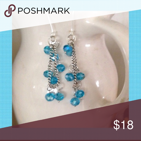 "Cascading Turquoise Crystal Earrings Turquoise crystals cascade down 3"" stainless steel chains from stainless steel ear hooks. Jewelry Earrings"