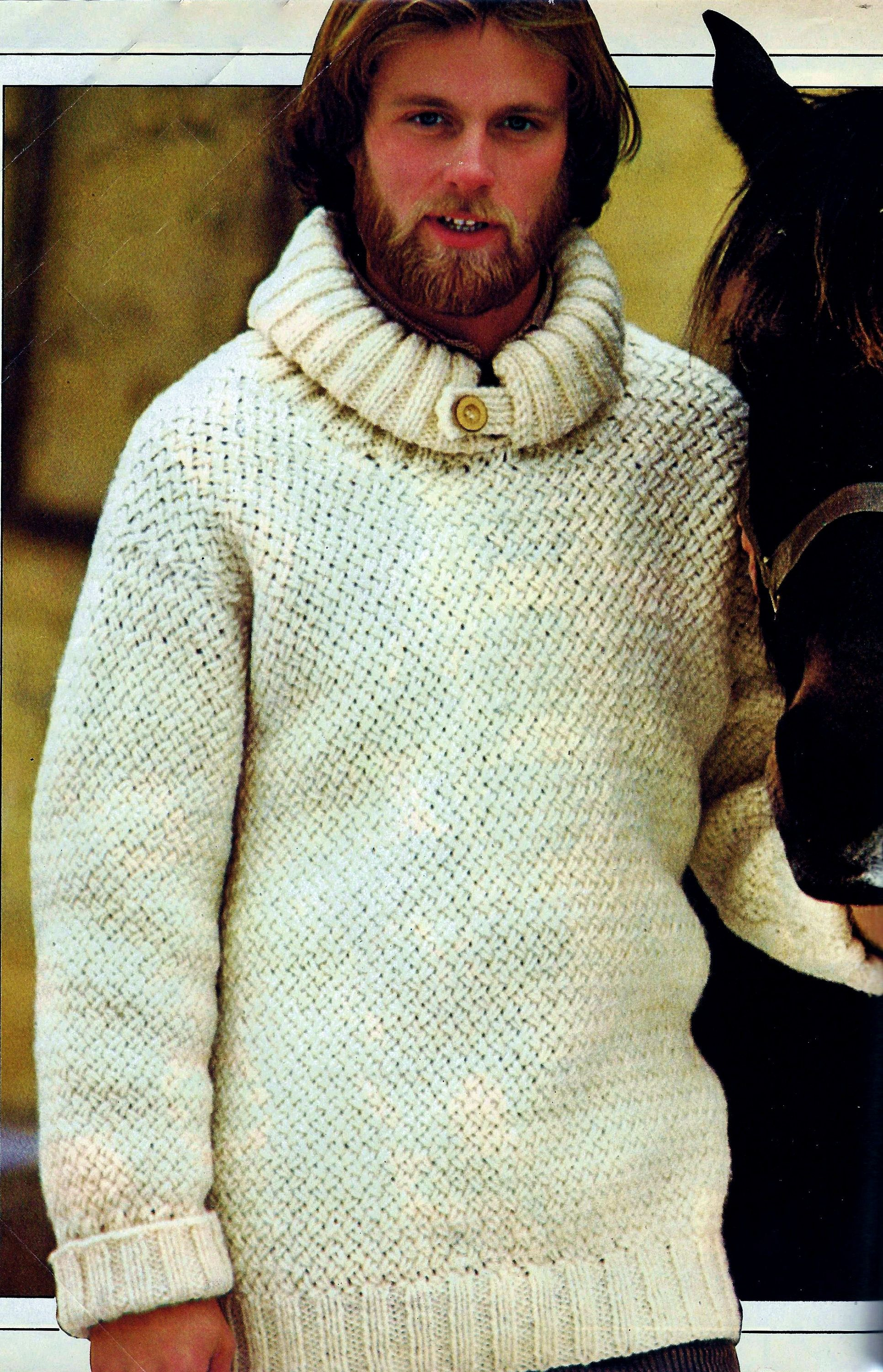 Bulky Sweater Vintage Knitting Pattern Instant Download