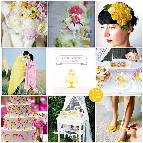 Whimsically sweet garden wedding theme featuring Pantone colors Cabaret and Solar Power