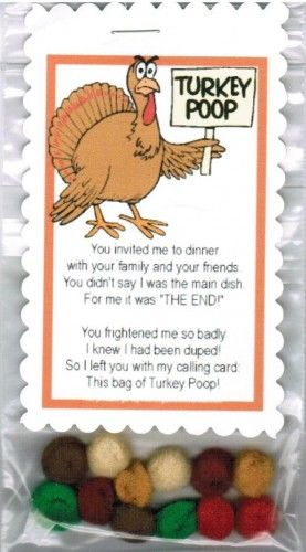 Turkey Poop Thanksgiving Holiday Handmade Novelty Gag Gift - Poem