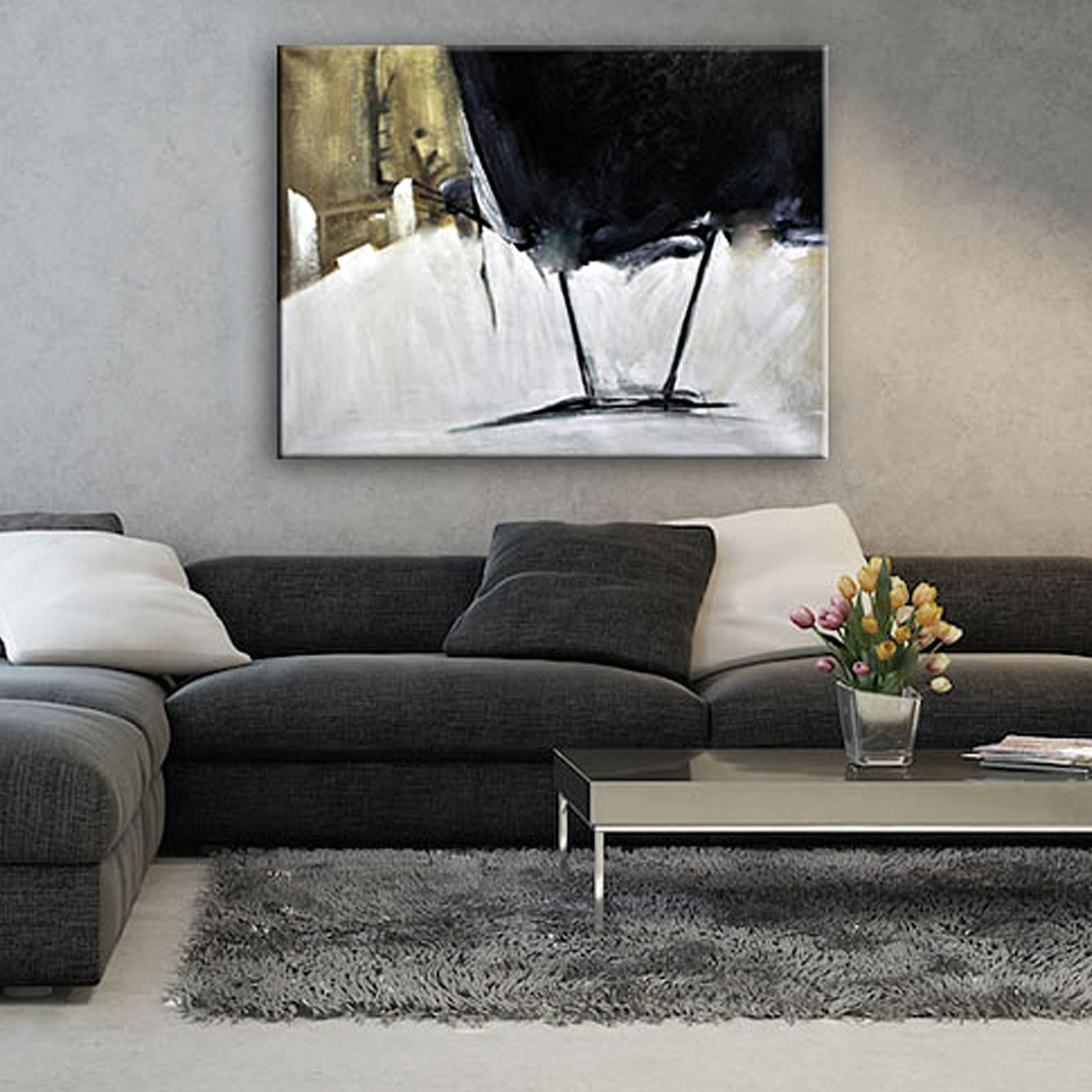 black and gold painted canvas wall art by united interiors on canvas wall art id=83943