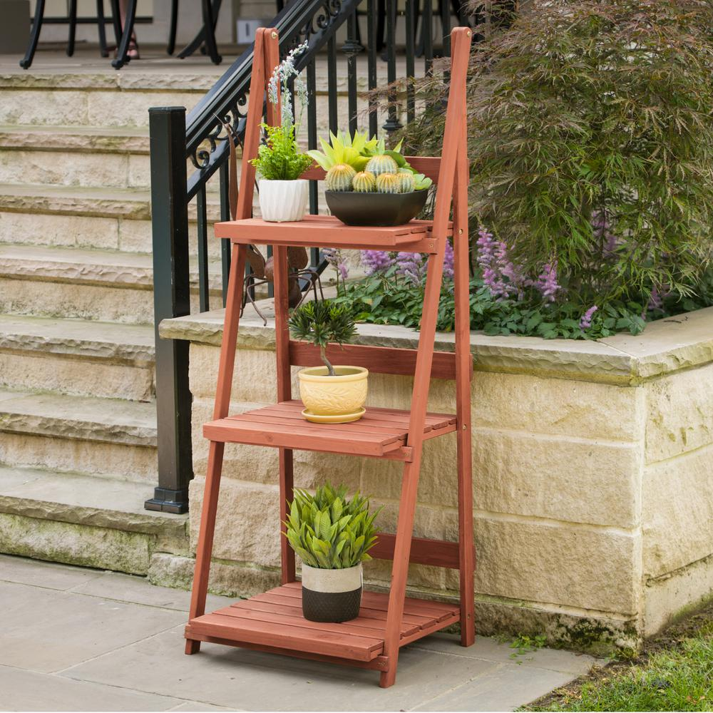 Leisure Season 24 In X 18 In X 60 In 3 Tier A Frame Plant Stand Ps6114 The Home Depot Framed Plants Wood Plant Stand Plant Stand