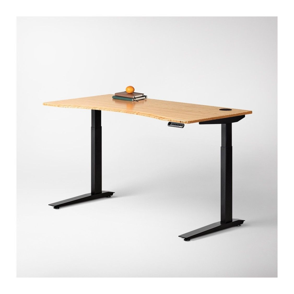 Jarvis bamboo adjustable standing desk in black officedesign