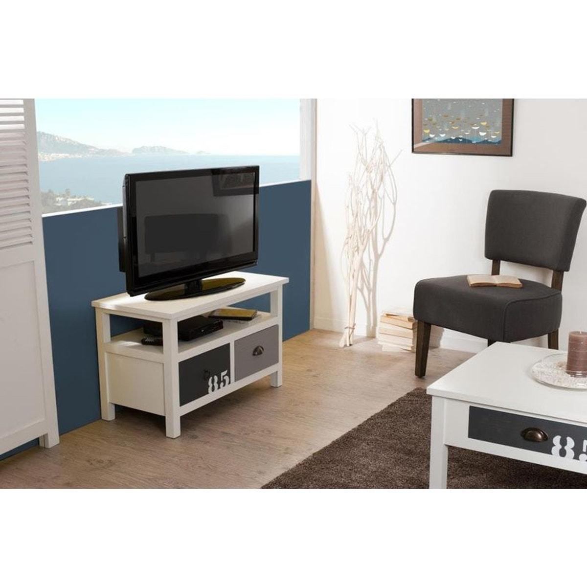 Meuble Tv 80cm Bois Blanc Et Gris 2 Tiroirs Style Bord De Mer Milo