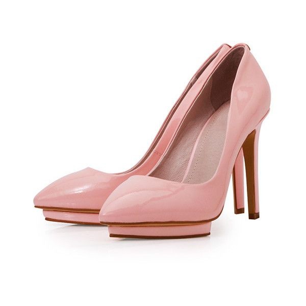 b8534acb648 Posh Girl Pretty In Pink Leather Pumps ( 88) ❤ liked on Polyvore featuring  shoes