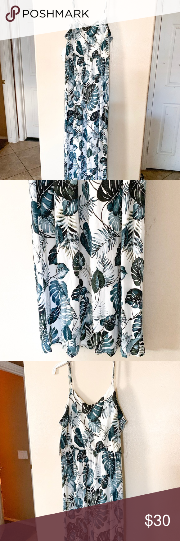 ✨ Tropical Print Maxi Dress New with tags! Brand is Naïf. This dress is beautiful and it's white with a tropical print of blues and greens. It'…