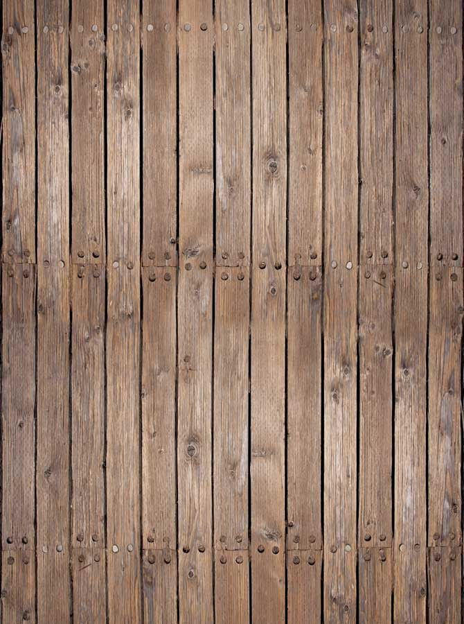 4654 Rustic Brown Wood Floor With Nails Backdrop