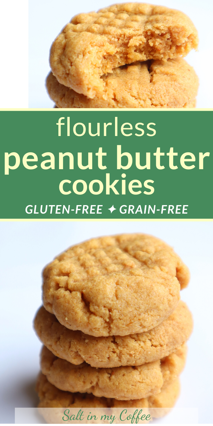 These soft, squishy flourless cookies are everything you want from a peanut butter cookie - and they're gluten free! #glutenfreebaking #glutenfreecookies #peanutbuttercookierecipe #glutenfree #holidaybaking #christmascookies