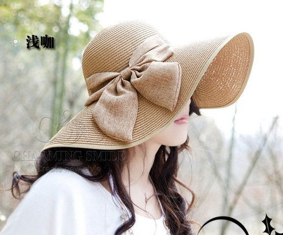 e3bb1e640f2 Wholesale and Retail Fashion Women Wide Large Brim Floppy Summer Beach Sun  Straw Hat Cap with big bow Free Shipping