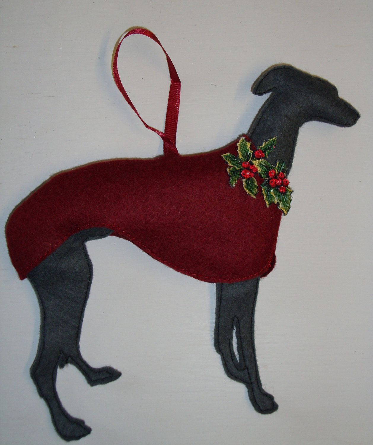 Whippet Christmas Tree Decoration Felt Dog Ornament Felt