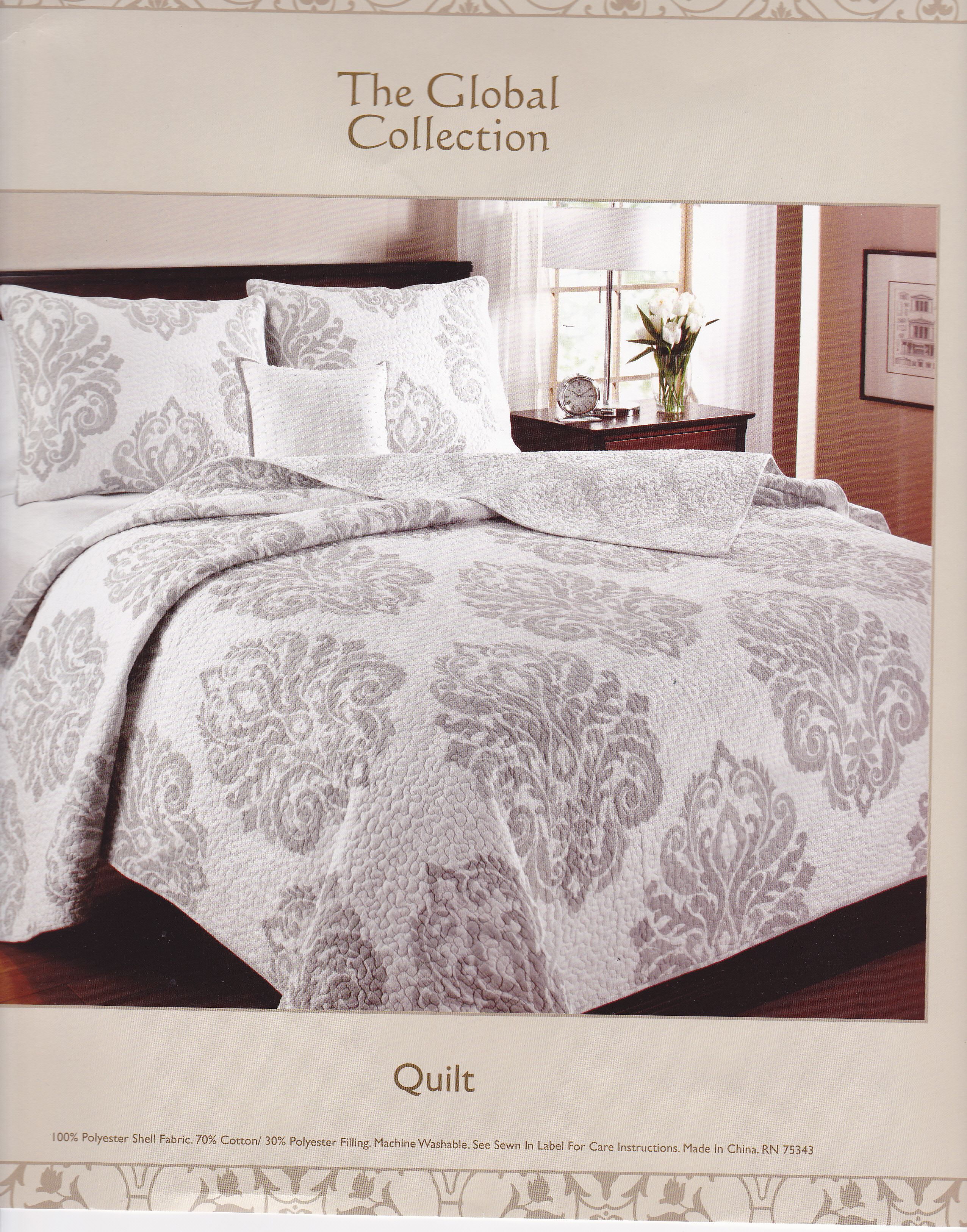 gray and white damask quilt sweet dreams linen bedding quilts bed. Black Bedroom Furniture Sets. Home Design Ideas