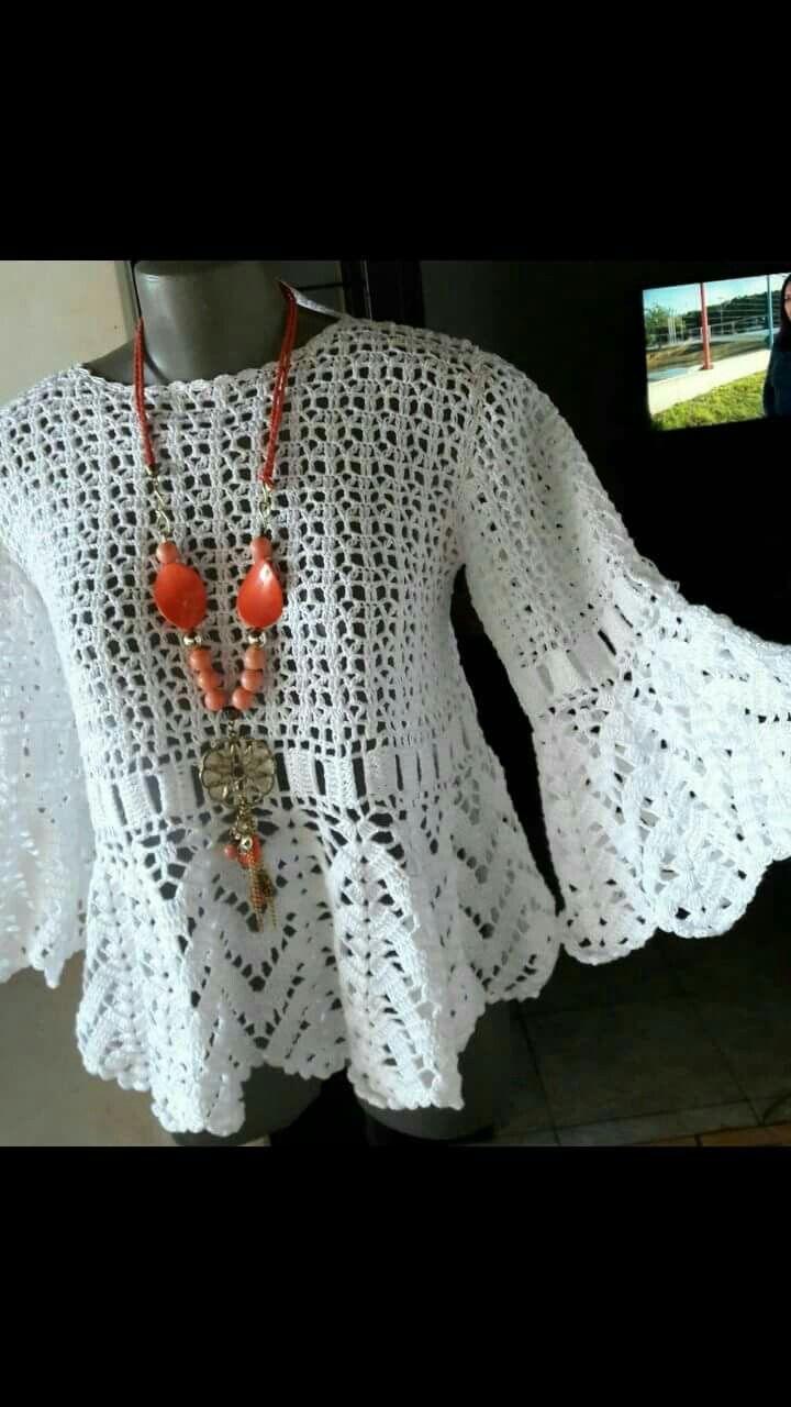 Pin de Ana Rosa en tejidos | Pinterest | Blusas, Blusas de crochet y ...