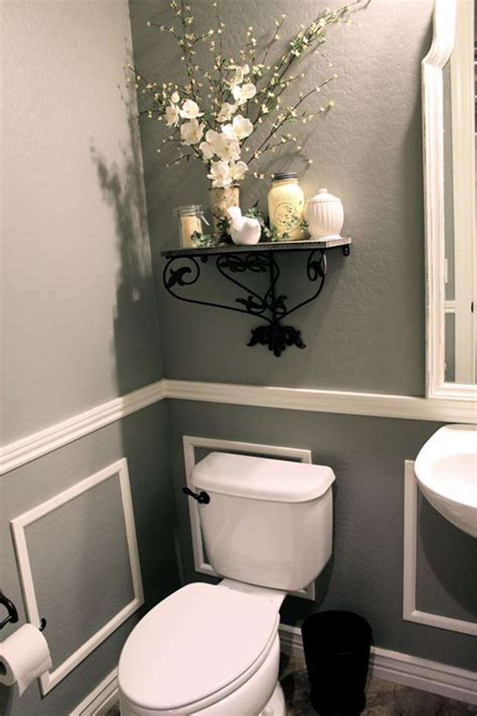 43 Cute Half Bathroom Ideas That Will Impress You 21 Homenthusiastic Half Bathroom Decor Half Bath Decor Small Half Bathrooms Half bathroom design ideas