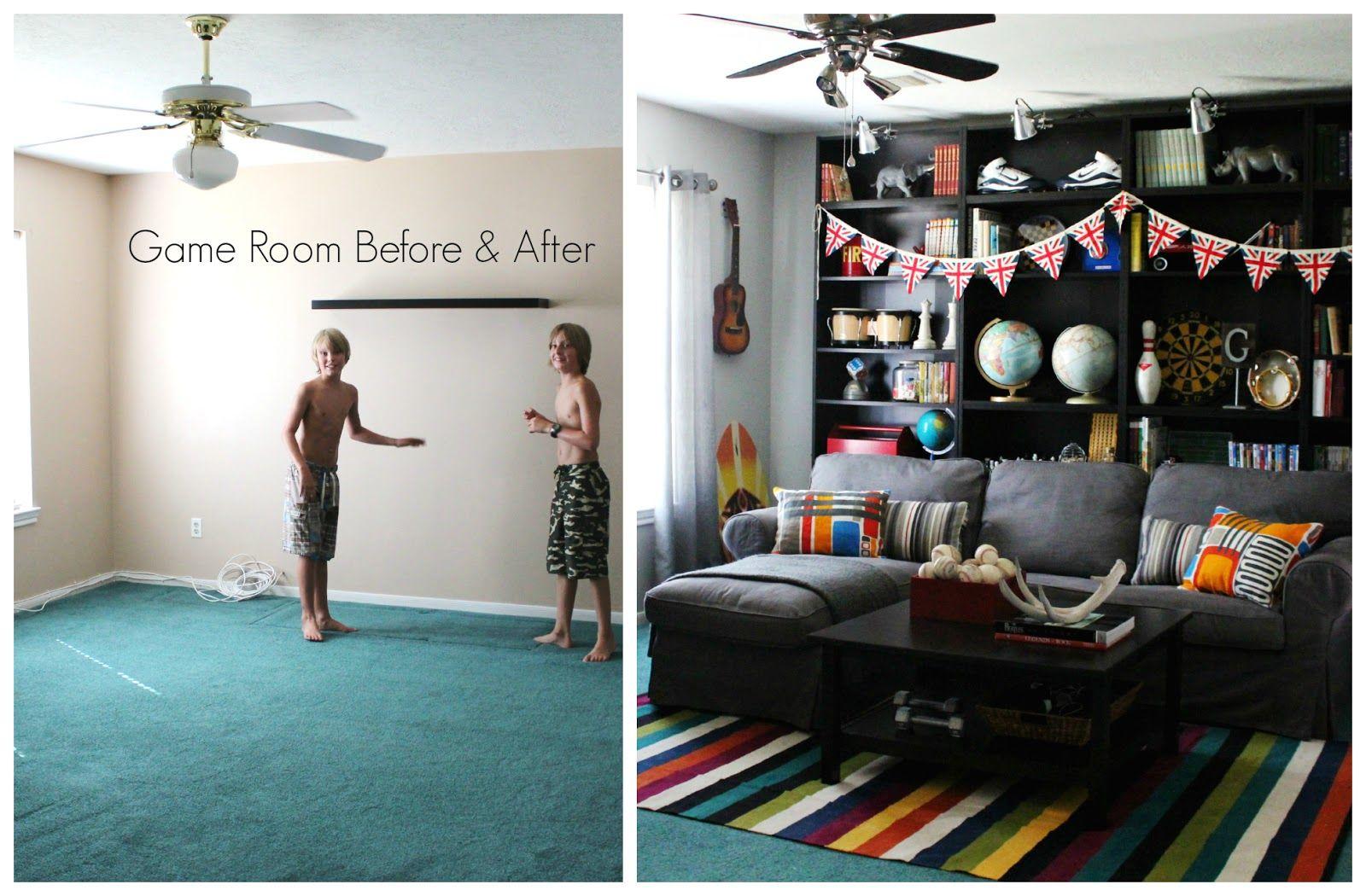 before after kids 39 game media play room kids 39 room. Black Bedroom Furniture Sets. Home Design Ideas