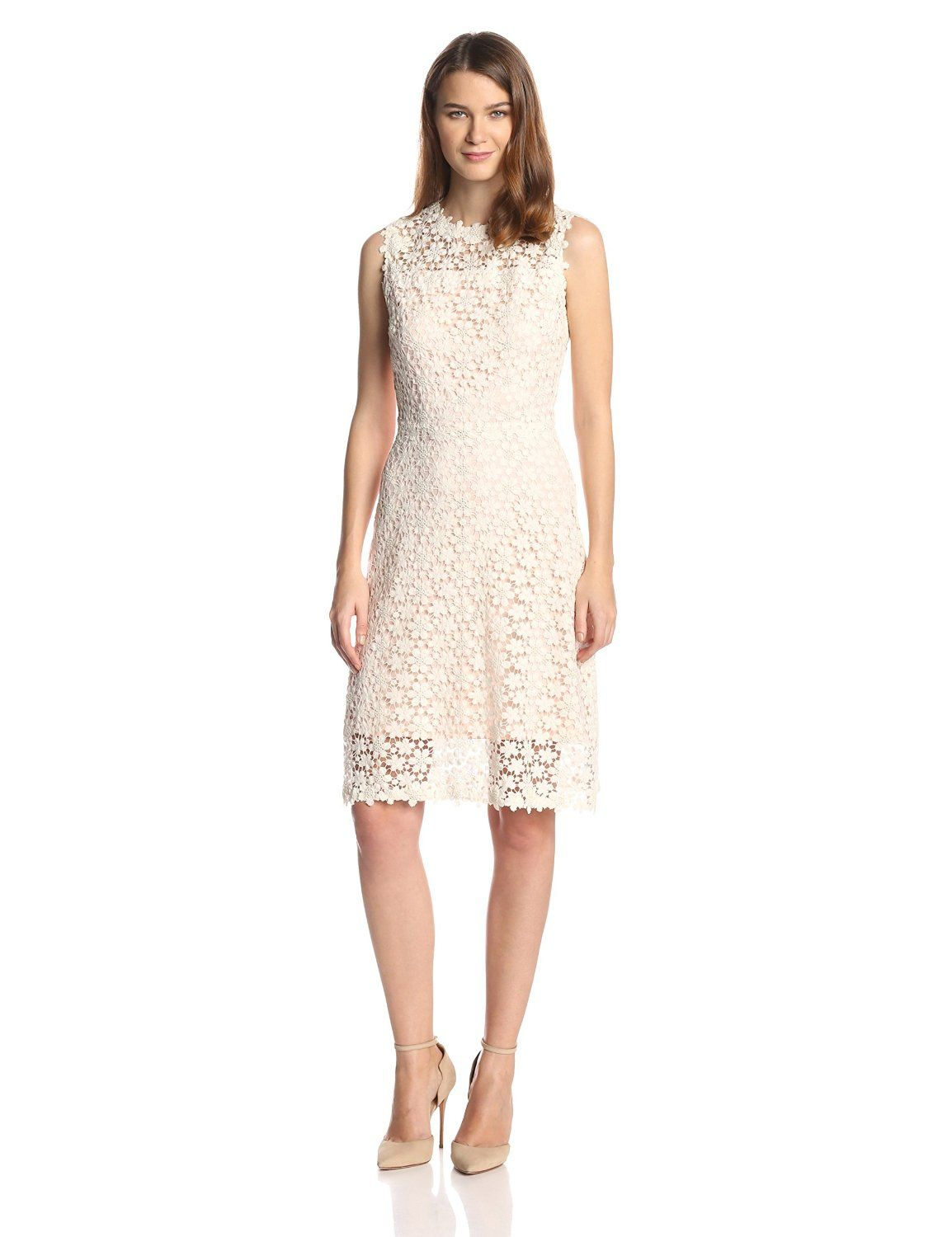 Ophelia Floral Lace Flared Dress By Elie Tahari Lace Shift Dress Lace Pink Dress Lace Dress [ 1500 x 1154 Pixel ]