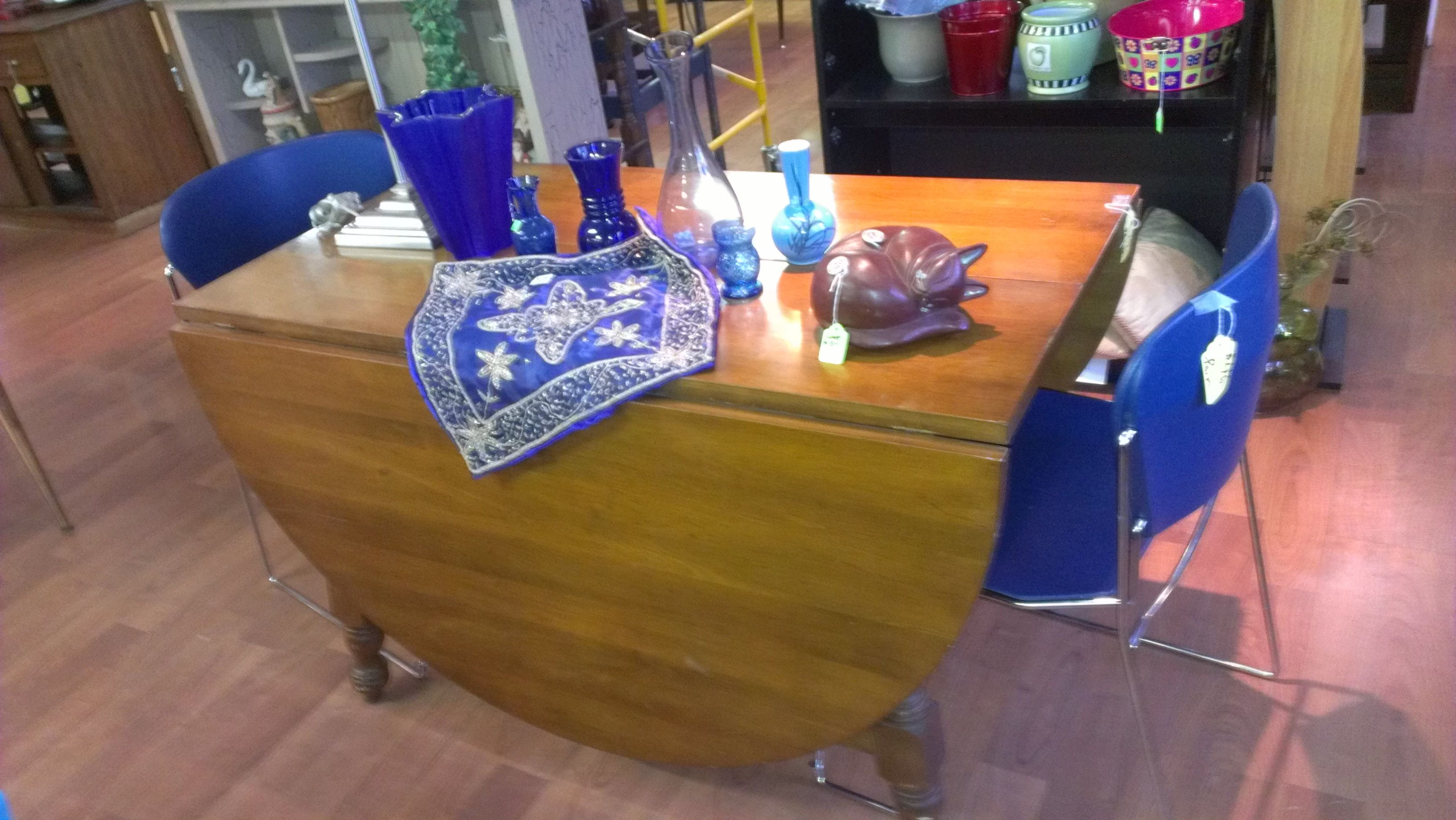 Good Quality Maple Dropleaf Table ~ $119 Measures 48w 48w  Blue Chairs ~ $46 Pair