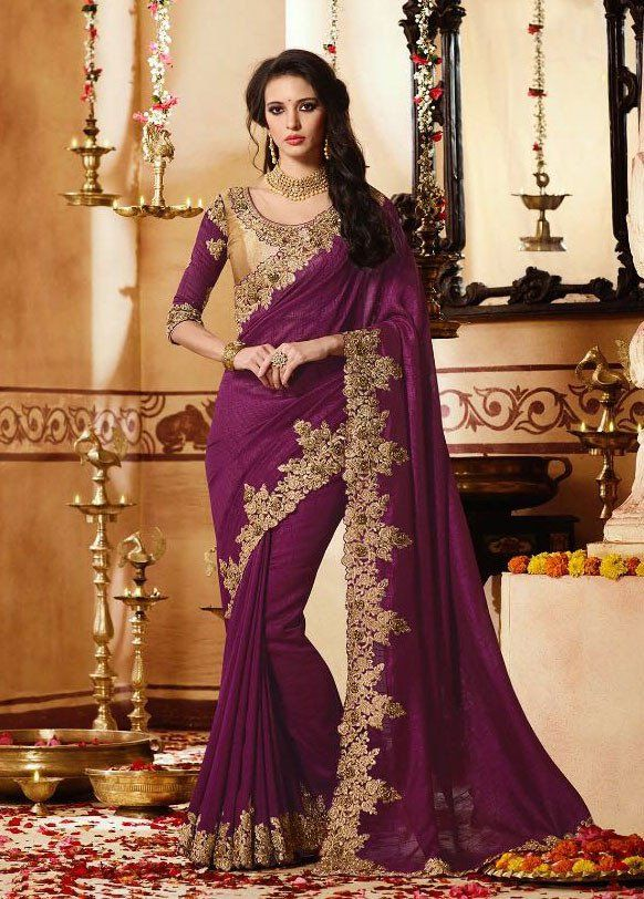346ad1491f643 Vivacious Grape Color Saree
