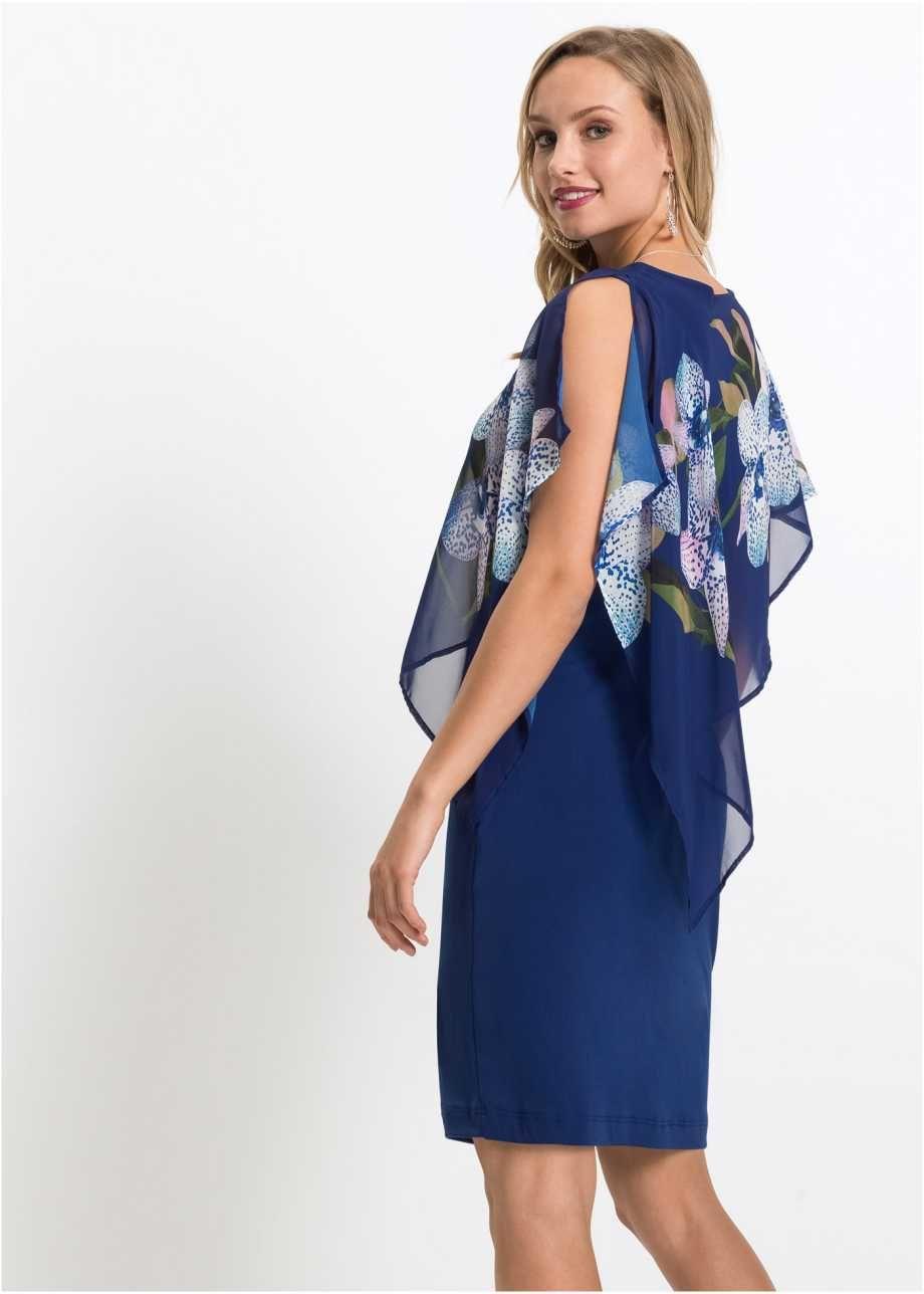 Hinreißendes Kleid mit bedrucktem Chiffon-Überwurf