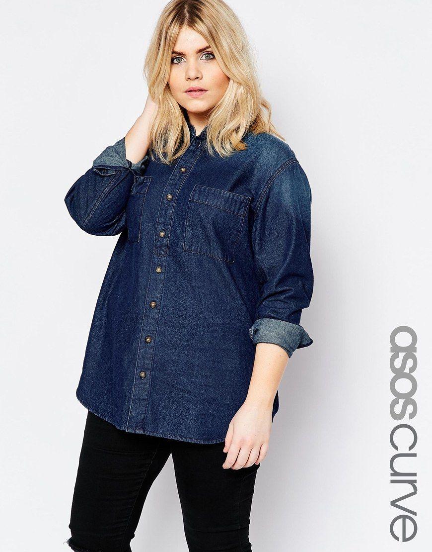 Image 1 ofASOS CURVE Denim Shirt in Paris Darkwash Blue