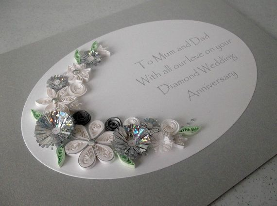 Quilled 60th Diamond Wedding Anniversary By PaperDaisyCardDesign GBP950