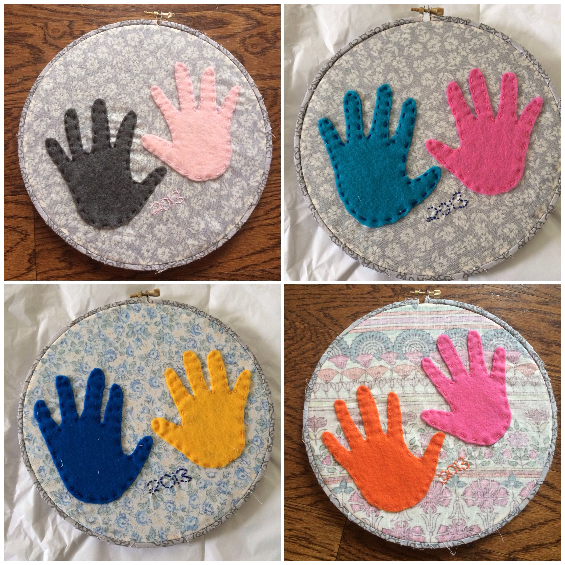 Handprint hoop art. Might make this my first project! Just LOVE this!