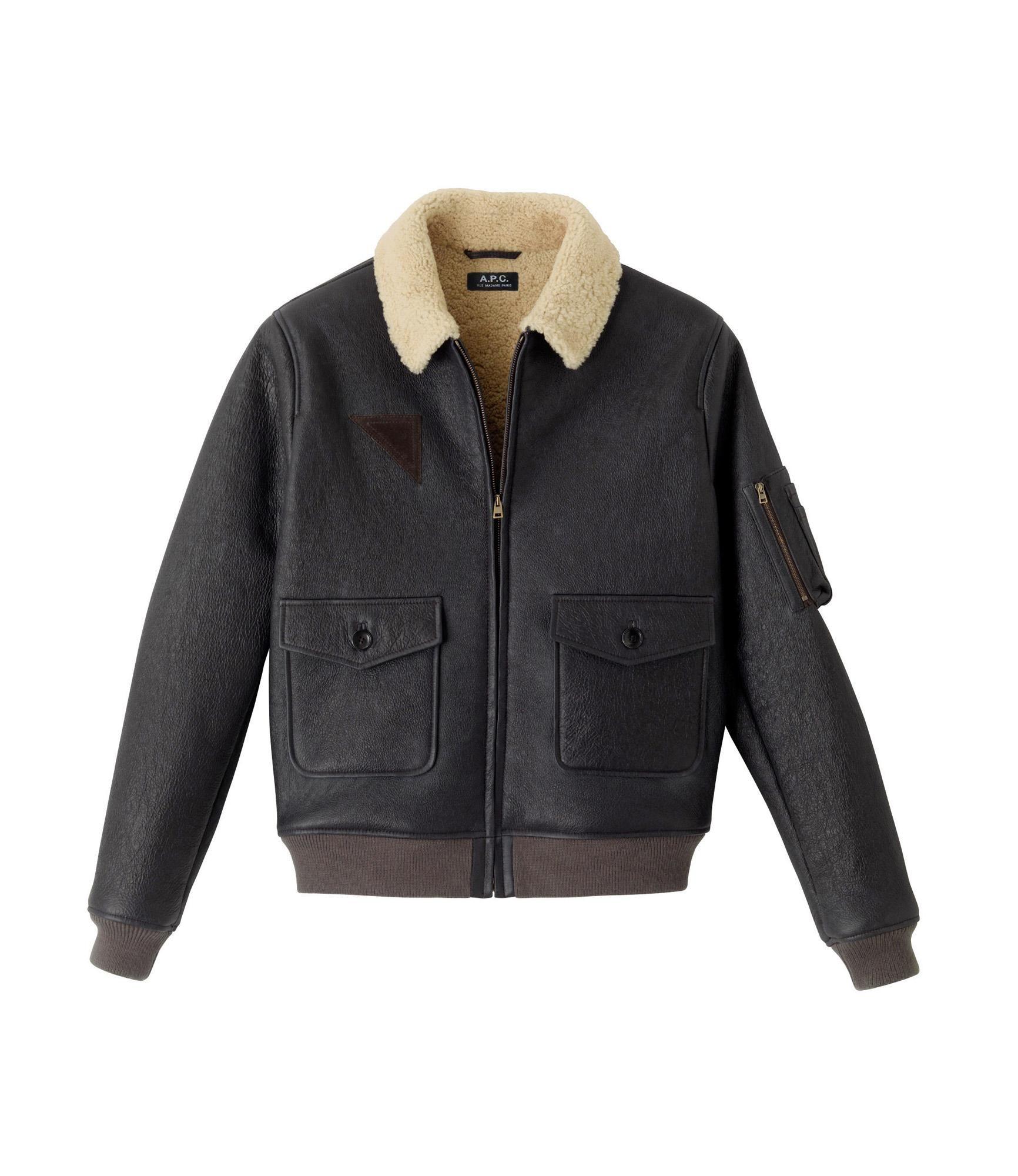 Reversed Sheepskin Aviator Jacket Dark Chestnut Brown A P C Men Leather Jacket Men Mens Blazer Jacket Leather Jacket Black [ 2000 x 1732 Pixel ]