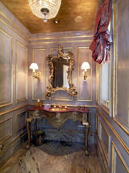 Gold Leaf Interior Design By Studio M Powder Room